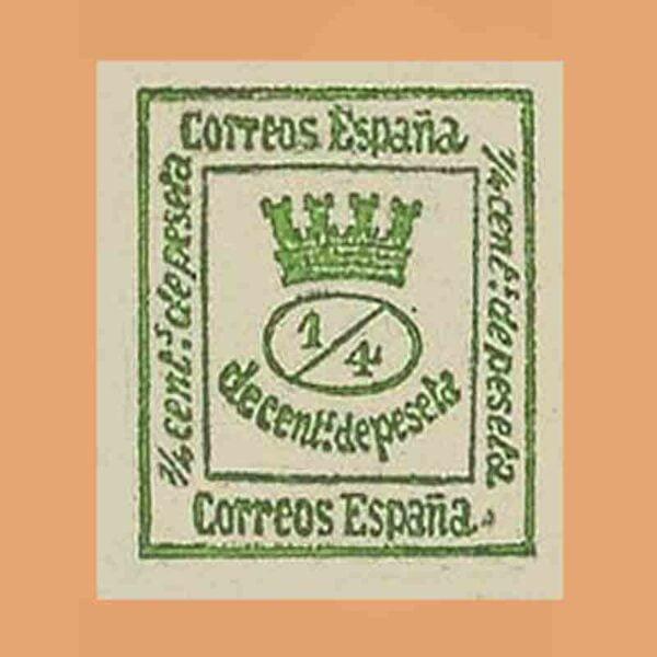 Corona mural y alegoría de España - 1873 - 130c verde amarillento