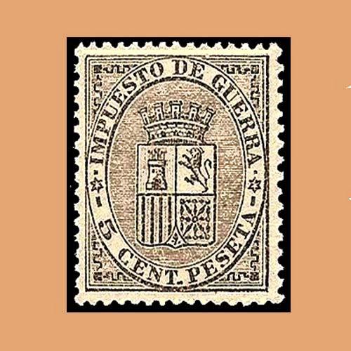 00141 Impuesto de Guerra. Escudo de España. 5cts. 1874