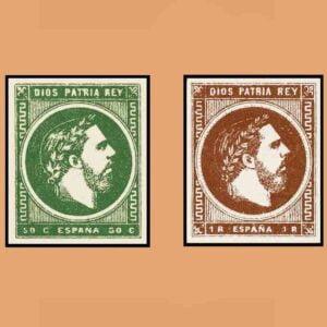 Edifil 160-161 Serie Carlos VII Vascongadas y Navarra 1875