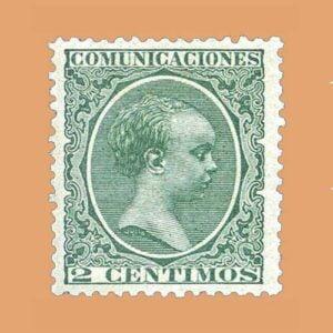 Edifil 213 Alfonso XIII Pelón 2cts. 1889-1899 verde