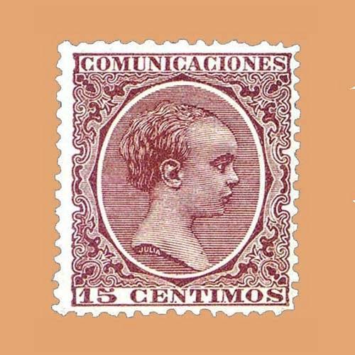 Edifil 219 Alfonso XIII Pelón 15cts. 1889-1899 castaño-violeta
