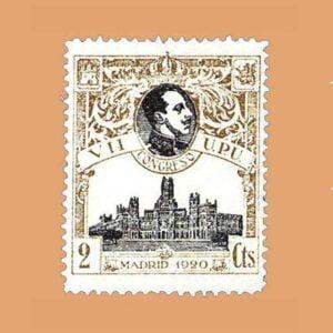 Edifil 298 VII Congreso de la O.P.U. Sello 2cts. 1920, Castaño
