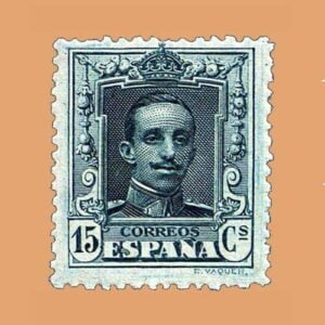 Edifil 219 Alfonso XIII Vaquer Sello 15cts. 1922-1930 azul-grisáceo