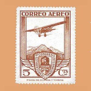 Edifil 483 XI Congreso Internacional de Ferrocarriles Sello 5cts. 1930 castaño-amarillento