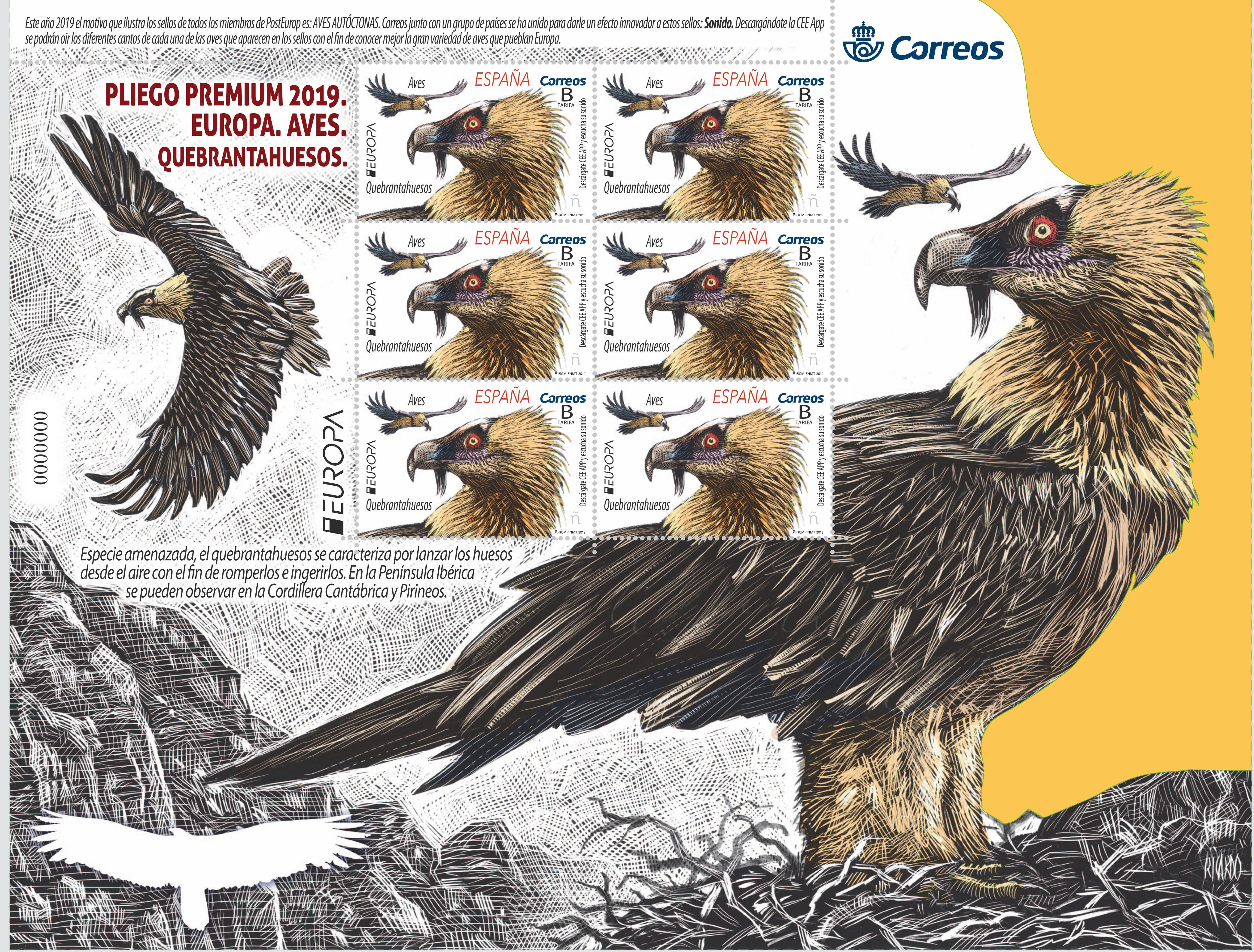 Nuevo sello de EUROPA Aves Quebrantahuesos