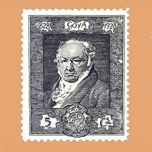 Edifil 503 Quinta de Goya en la Exposición de Sevilla Sello 5cts. 1930 violeta