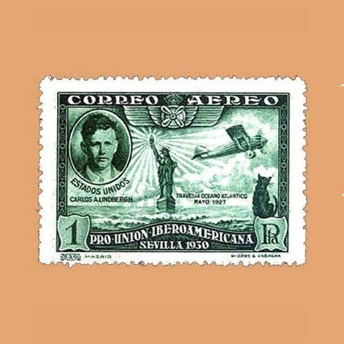 Edifil 588 Pro Unión Iberoamericana Sello 1pta. 1930 verde