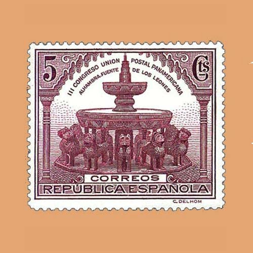 Edifil 604 Congreso de la Unión Postal Panamericana Sello 5cts. II República 1931 castaño violáceo