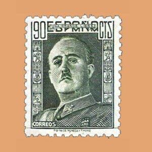Edifil 1000 General Franco Sello 90cts. 1946 verde