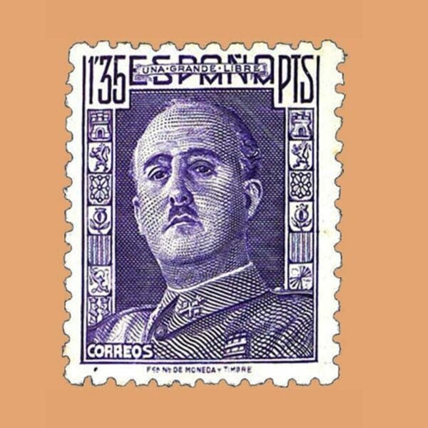 Edifil 1001 General Franco Sello 1,35ptas. 1946 violeta