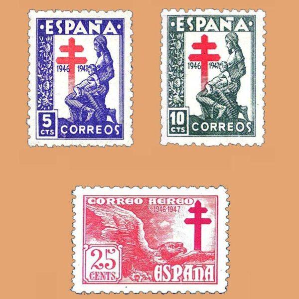 Edifil 1008-1010 Serie Pro tuberculosos 1946 3 valores