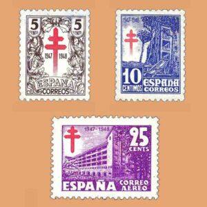 Edifil 1017-1019 Serie Pro tuberculosos. 3 valores. * 1947