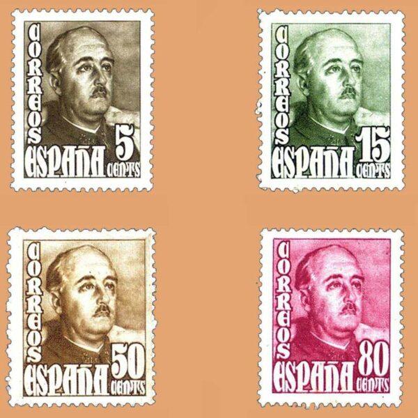 Edifil 1020-1023 Serie General Franco. 1948 4 valores