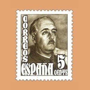 Edifil 1020 General Franco Sello 5cts. 1948 castaño