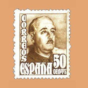 Edifil 1022 General Franco Sello 50cts. 1948 castaño claro