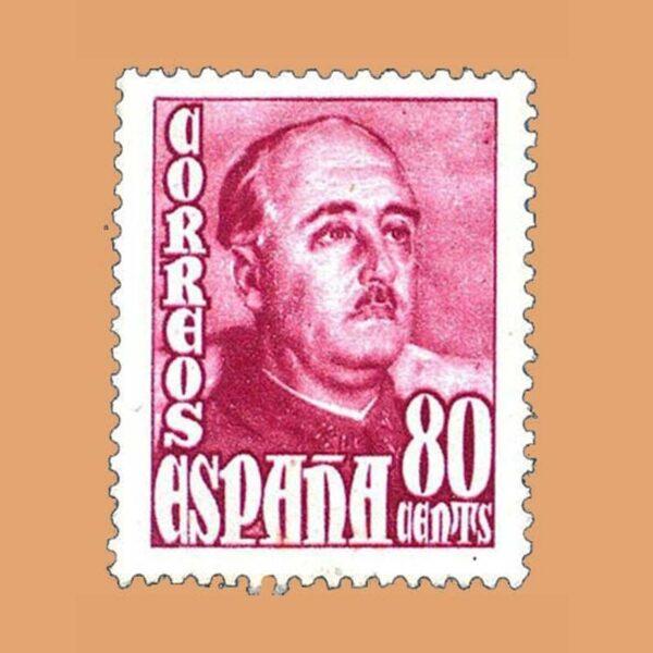 Edifil 1023 General Franco Sello 80cts. 1948 rosa carminado
