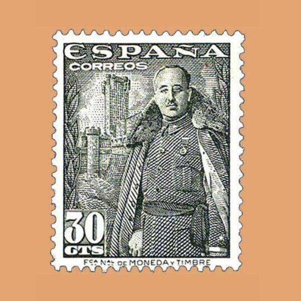 Edifil 1025 General Franco y Castillo de la Mota Sello 30cts. 1948 verde oliva