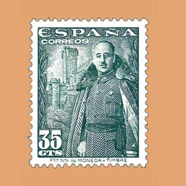 Edifil 1026 General Franco y Castillo de la Mota Sello 35cts. 1948 verde