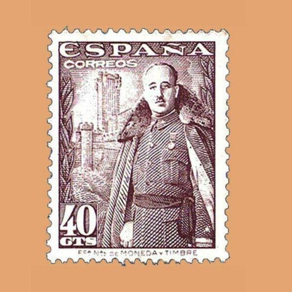 Edifil 1027 General Franco y Castillo de la Mota Sello 40cts. 1948 castaño