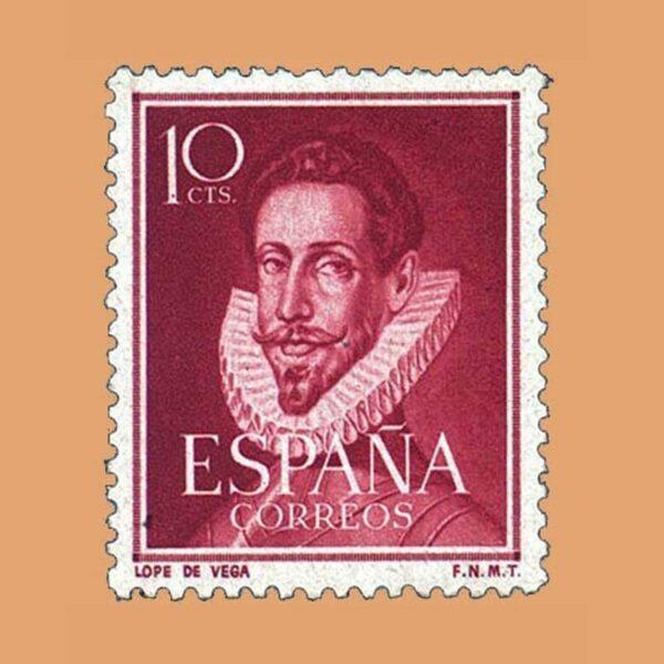 Edifil 1072 Literatos. Lope de Vega Sello 10cts. 1950 burdeos