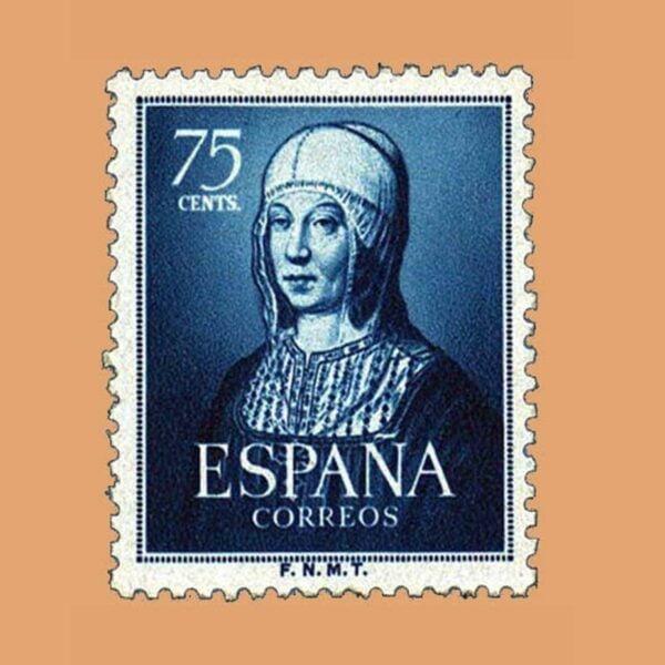 Edifil 1093 V Centenario del nacimiento de Isabel la Católica Sello 75cts. 1951 azul