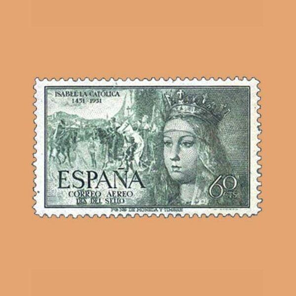 Edifil 1097 V Centenario del Nacimiento de Isabel la Católica Sello 60cts. 1951 verde