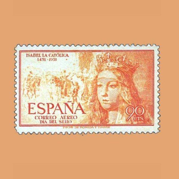 Edifil 1098 V Centenario del Nacimiento de Isabel la Católica Sello 90cts. 1951 amarillo anaranjado