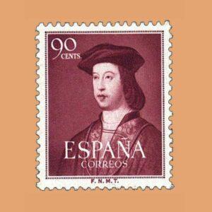 Edifil 1108 Centenario Fernando el Católico Sello 90cts. 1952 lila rojizo