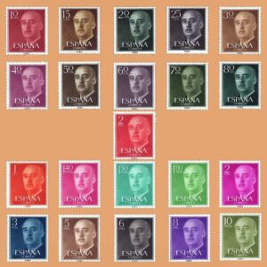 Edifil 1143-1163 Serie General Franco 1955-1956. ** Nuevo sin señal de fijasellos. 21 valores de la serie (1143-1163)