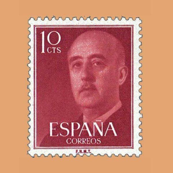 Edifil 1143 General Franco Sello 10cts. 1955 rojo burdeos