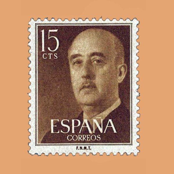 Edifil 1144 General Franco Sello 15cts. 1955 ocre