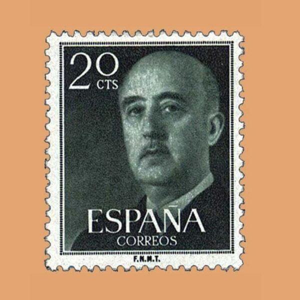 Edifil 1145 General Franco Sello 20cts. 1955 verde bronce