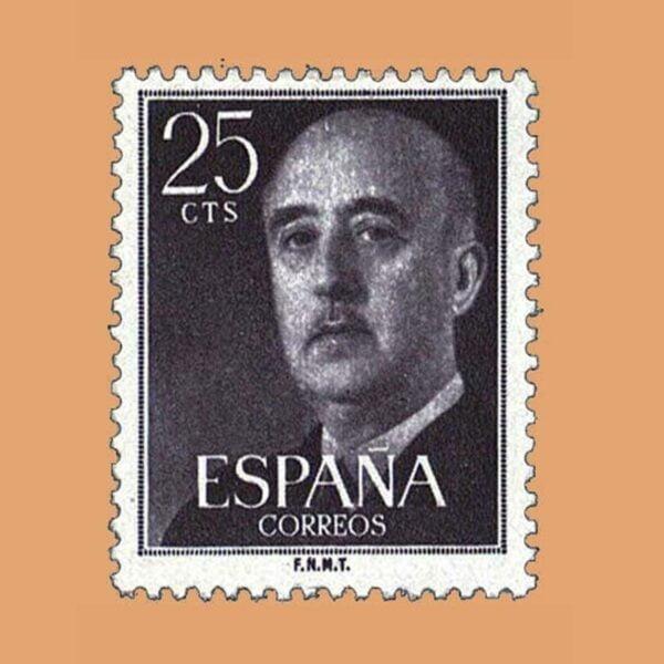 Edifil 1146 General Franco Sello 25cts. 1955 violeta negro