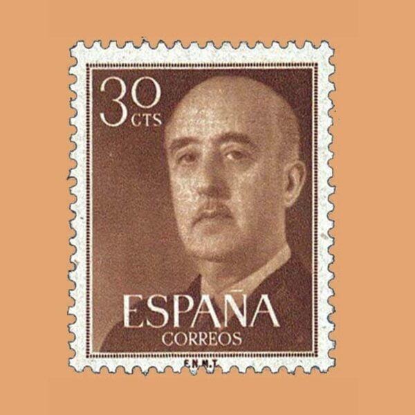 Edifil 1147 General Franco Sello 30cts. 1955 castaño