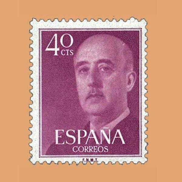 Edifil 1148 General Franco Sello 40cts. 1955 lila oscuro