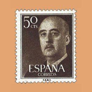 Edifil 1149 General Franco Sello 50cts. 1955 castaño oliva