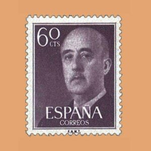 Edifil 1150 General Franco Sello 60cts. 1955 castaño grisáceo