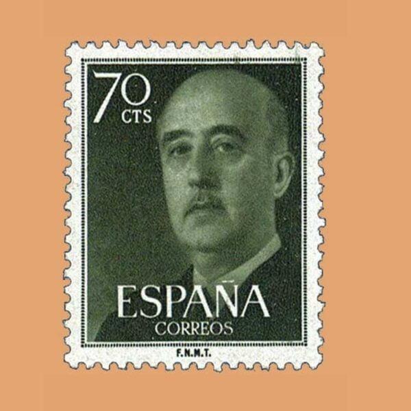Edifil 1154 General Franco Sello 70cts. 1955 verde claro