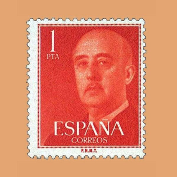 Edifil 1153 General Franco Sello 1pta. 1955 rojo