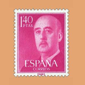 Edifil 1154 General Franco Sello 1,40ptas. 1955 rojo magenta