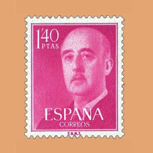 Edifil 1154 General Franco Sello 1,40ptas. 1955 rojo magenta