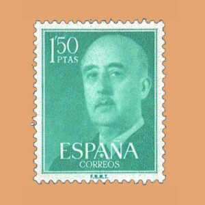Edifil 1155 General Franco Sello 1,50ptas. 1955 verde azulado