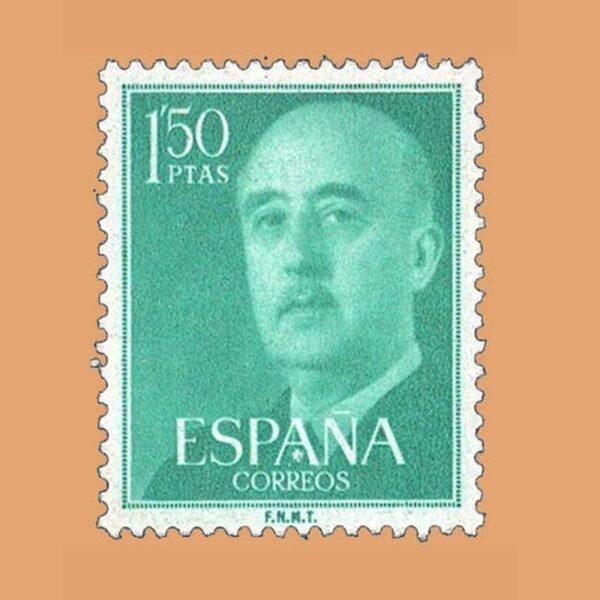Edifil 1155 General Franco Sello 1,50ptas. 1955 verde azulado