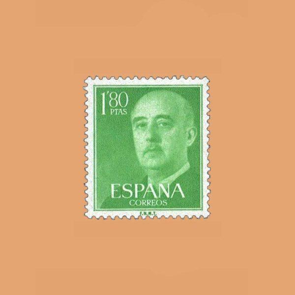 Edifil 1156 General Franco Sello 1,80ptas. 1955 verde verde amarillo