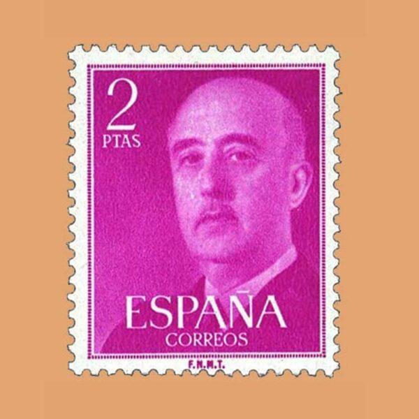 Edifil 1158 General Franco Sello 2ptas. 1955 púrpura