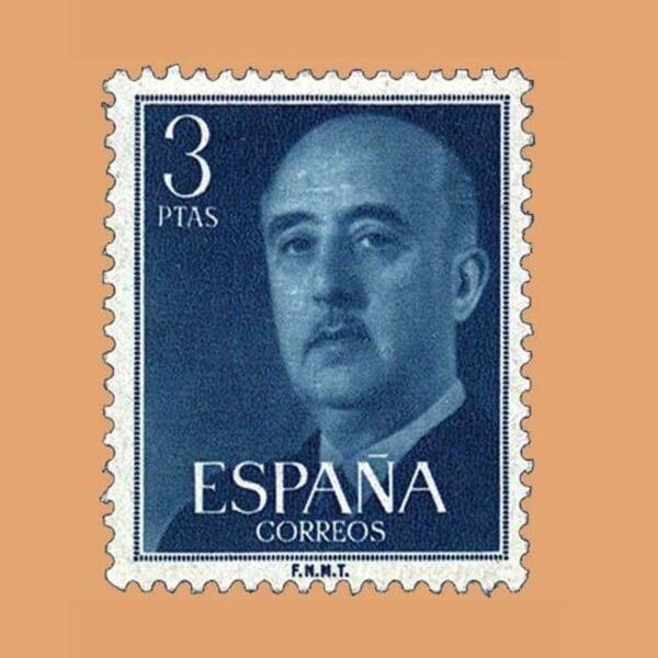 Edifil 1159 General Franco Sello 3ptas. 1955 azul