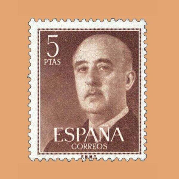 Edifil 1160 General Franco Sello 5ptas. 1955 castaño