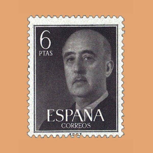 Edifil 1161 General Franco Sello 6ptas. 1955 gris negruzco