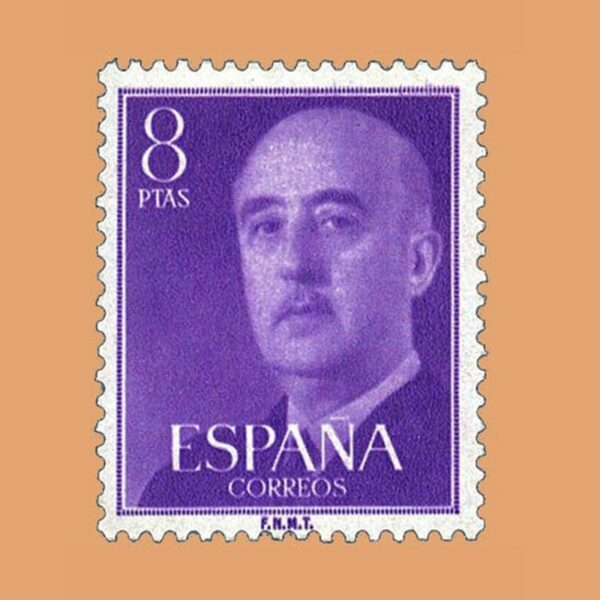 Edifil 1162 General Franco Sello 8ptas. 1955 violeta