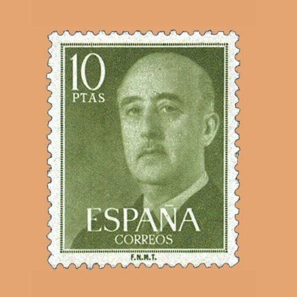 Edifil 1163 General Franco Sello 10ptas. 1955 verde amarillo